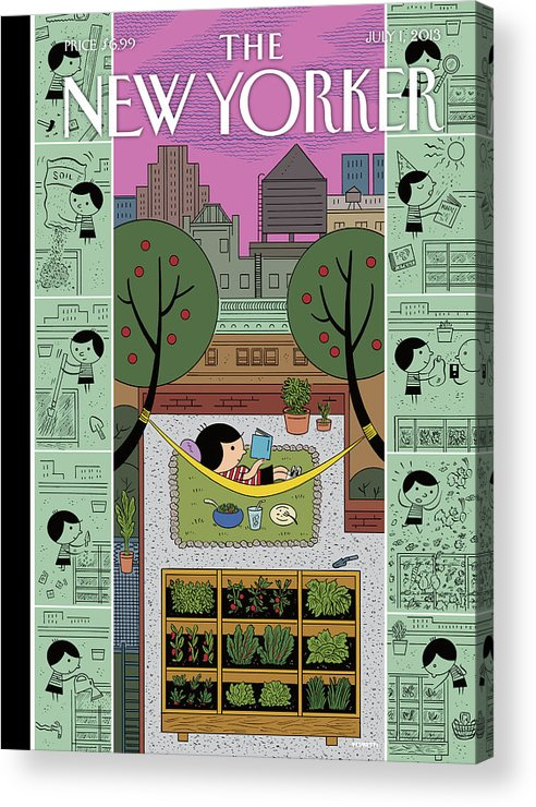 Roof Acrylic Print featuring the painting New Yorker July 1st, 2013 by Ivan Brunetti