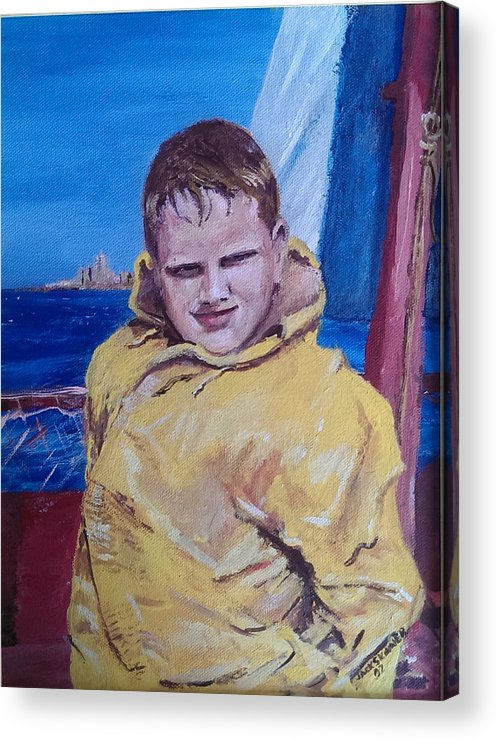 Boat Acrylic Print featuring the painting A Boy On A Boat by Jack Skinner