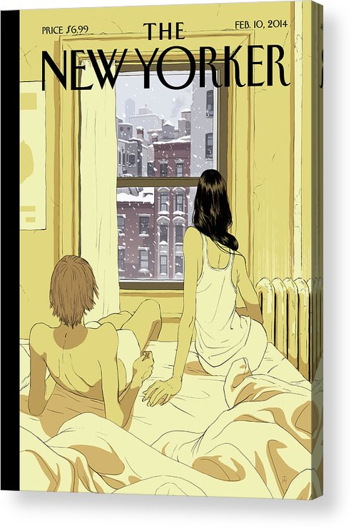 Seasons Acrylic Print featuring the painting A Couple Stays In Bed While It Snows In The City by Tomer Hanuka