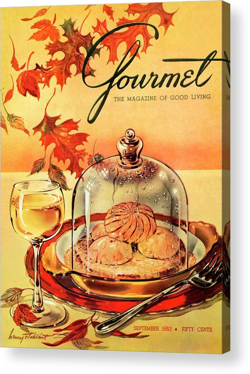 Illustration Acrylic Print featuring the photograph A Gourmet Cover Of Mushrooms On Toast by Henry Stahlhut