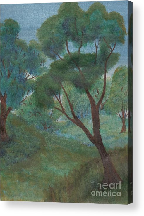 Watercolor Acrylic Print featuring the painting A Thought Of Summer by Robert Meszaros