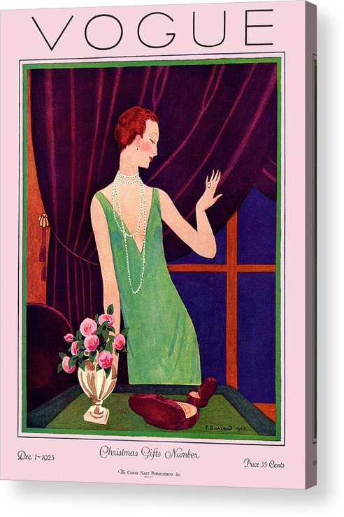 Illustration Acrylic Print featuring the photograph A Vogue Cover Of A Woman Trying On Jewelry by Pierre Brissaud