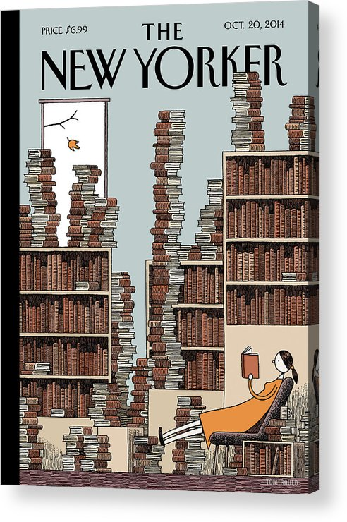 Books Acrylic Print featuring the painting Fall Library by Tom Gauld