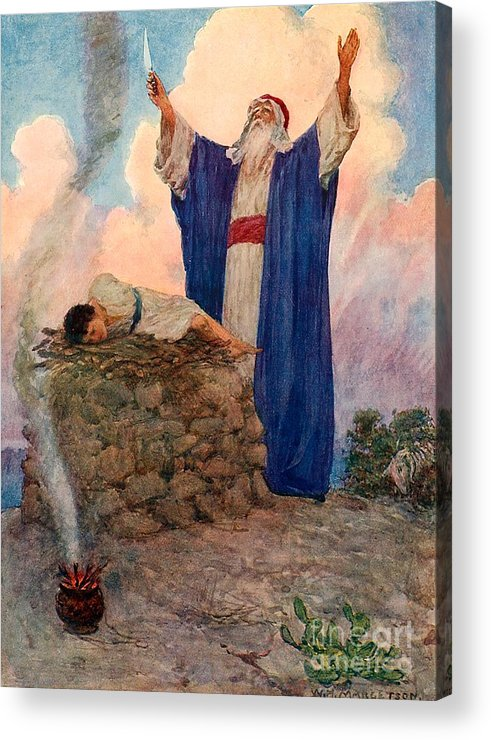 Bible; Abraham; Isaac; Mount Moriah; Sacrifice Acrylic Print featuring the painting Abraham And Isaac On Mount Moriah by William Henry Margetson