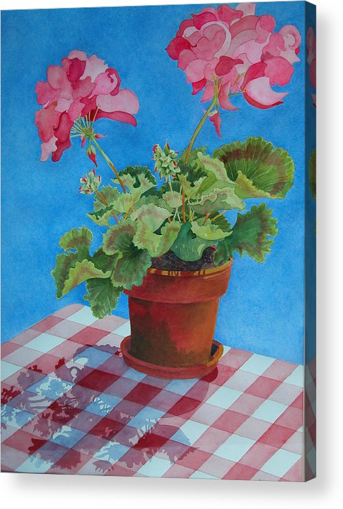 Floral. Duvet Acrylic Print featuring the painting Afternoon Shadows by Mary Ellen Mueller Legault