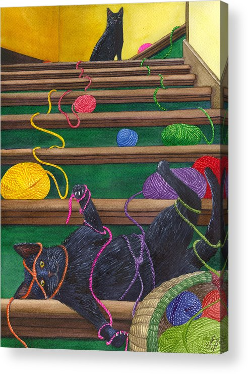Cat Acrylic Print featuring the painting All Caught Up by Catherine G McElroy
