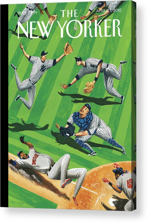 Yankees Acrylic Print featuring the painting Baseball Ballet by Mark Ulriksen