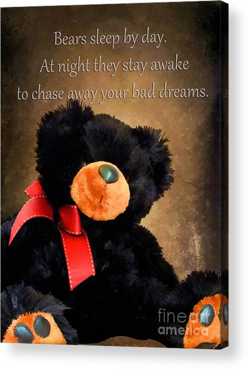 Animal Acrylic Print featuring the photograph Bears Sleep By Day by Darren Fisher