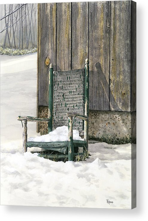 Chair Acrylic Print featuring the painting Better Days - Winter by Ted Head