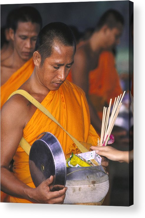 Alms Acrylic Print featuring the photograph Buddhist Monks Receiving Alms by Richard Berry