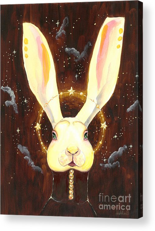 Bunny Acrylic Print featuring the painting Bunny Yolo by Miss M von Baron