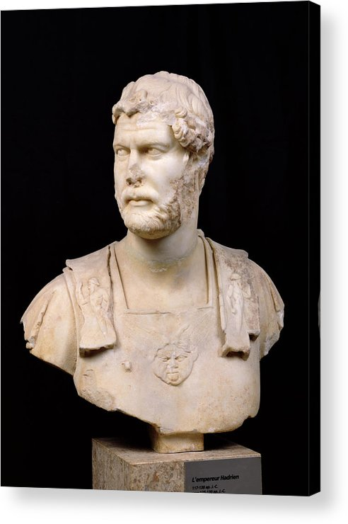 Buste De L'empereur Hadrien Acrylic Print featuring the sculpture Bust Of Emperor Hadrian by Anonymous