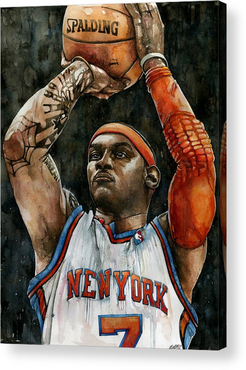 Carmelo Acrylic Print featuring the painting Carmelo Anthony by Michael Pattison