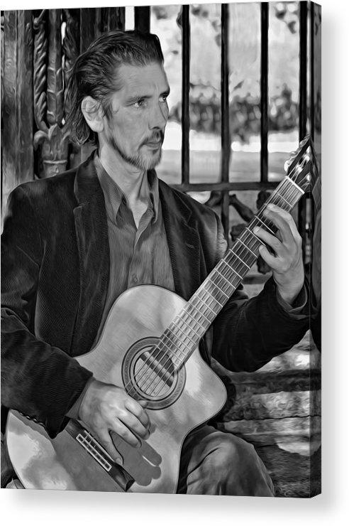 Jackson Square Acrylic Print featuring the photograph Chris Craig - New Orleans Musician Bw by Steve Harrington