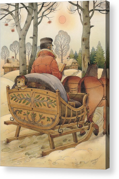 Christmas Gretting Card Winter Books Lanscape Snow White Holiday Acrylic Print featuring the painting Christmas Eve by Kestutis Kasparavicius