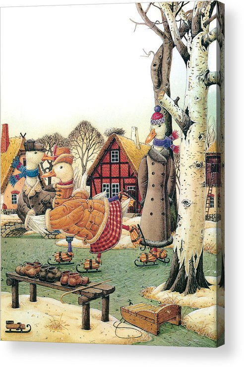 Christmas Winter Duck Greeting Cards Ice White Holiday Acrylic Print featuring the painting Ducks On Skates by Kestutis Kasparavicius