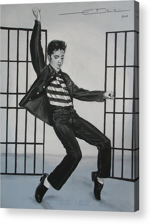 Elvis Presley Acrylic Print featuring the painting Elvis Presley Jailhouse Rock by Eric Dee