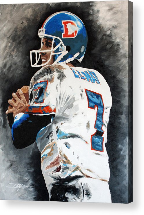 Elway Acrylic Print featuring the drawing Elway by Don Medina