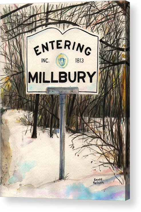 Millbury Acrylic Print featuring the painting Entering Millbury by Scott Nelson
