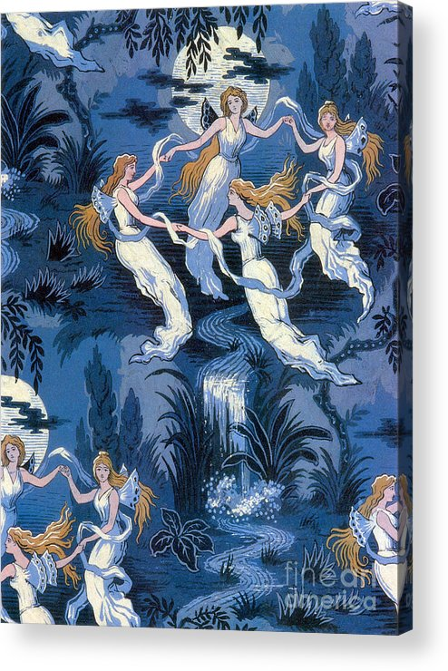 History Acrylic Print featuring the photograph Fairies In The Moonlight French Textile by Photo Researchers