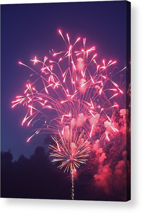 Photograph Acrylic Print featuring the photograph Fireworks 2014 X by Suzanne Gaff