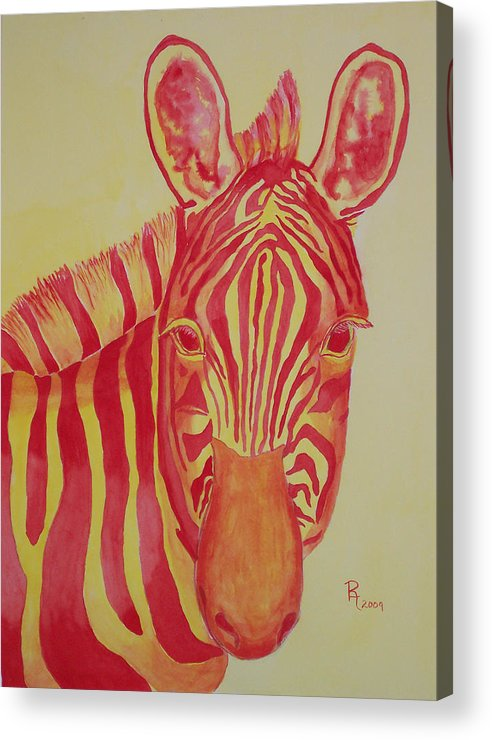 Zebra Acrylic Print featuring the painting Flame by Rhonda Leonard