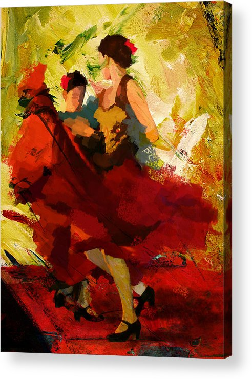 Jazz Acrylic Print featuring the painting Flamenco Dancer 019 by Catf