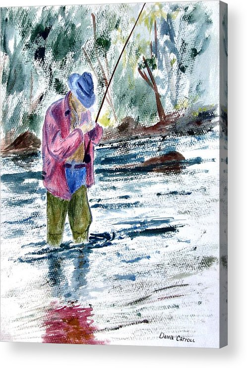 Outdoors Acrylic Print featuring the painting Fly Fishing The South Platte River by Dana Carroll