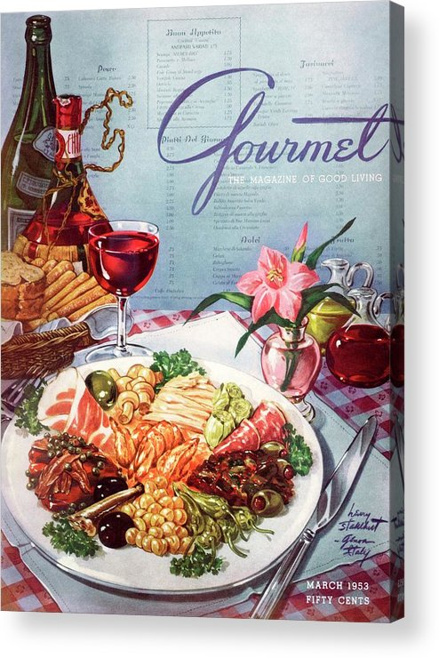 Food Acrylic Print featuring the photograph Gourmet Cover Illustration Of A Plate Of Antipasto by Henry Stahlhut