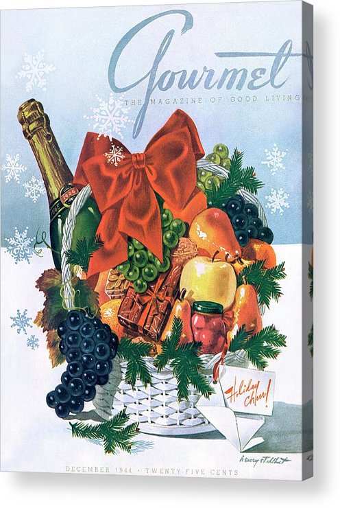 Food Acrylic Print featuring the photograph Gourmet Cover Illustration Of Holiday Fruit Basket by Henry Stahlhut