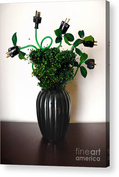 Alternative Energy Acrylic Print featuring the photograph Green Energy Floral Arrangement Of Electrical Plugs by Amy Cicconi