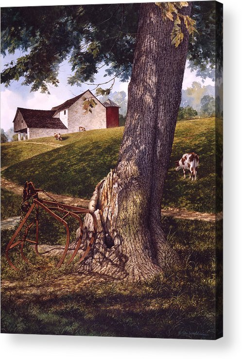 Landscape Acrylic Print featuring the painting Hay Fork by Tom Wooldridge