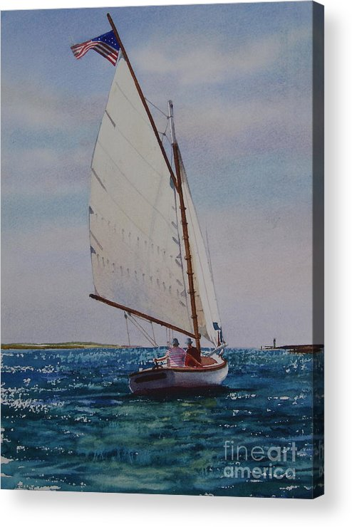 Catboat Acrylic Print featuring the painting Heading Out by Karol Wyckoff