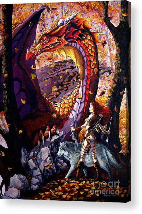 Dragon Acrylic Print featuring the painting Highland Huntress by Stanley Morrison