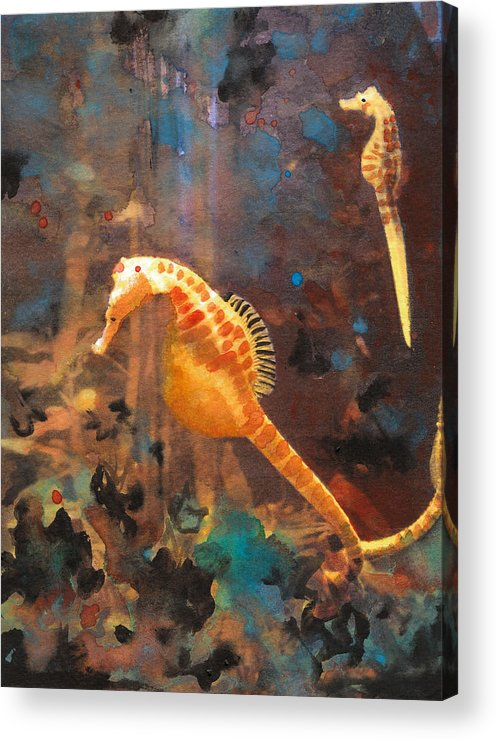 Small Fish Painting Acrylic Print featuring the painting Illuminated Seahorse by Susan Powell