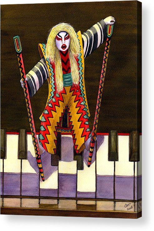 Kabuki Acrylic Print featuring the painting Kabuki Chopsticks 2 by Catherine G McElroy