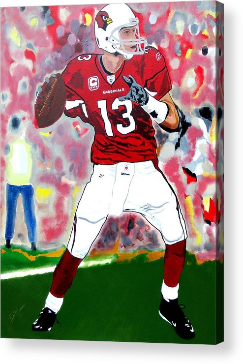 Kurt Warner Paintings Acrylic Print featuring the painting Kurt Warner-in The Zone by Bill Manson