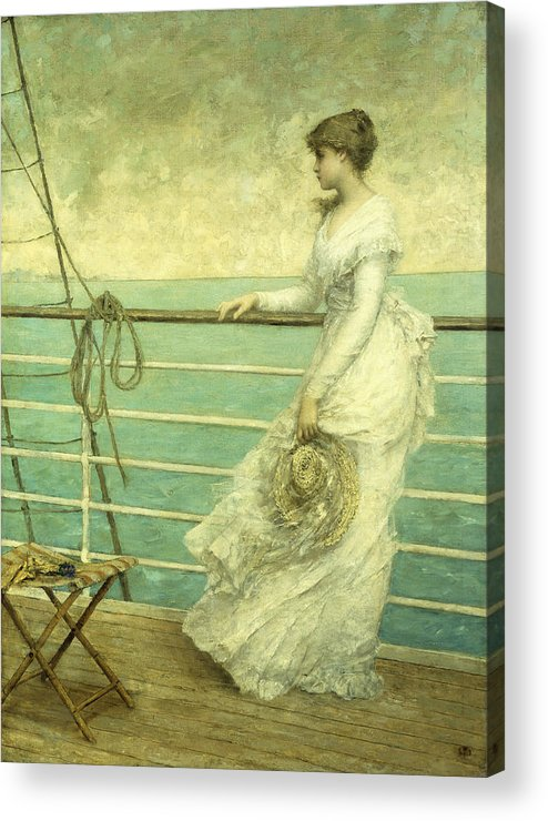 Lady; Deck; Ship; Sea; Seascape; Rigging; Ropes; Boat; Travel; Travelling; Journey; Transport; Young; Youth; Romantic; Pretty; Beauty; Beautiful; White; Lace; Dress; Demure; Lost In Thought; Pensive; Thoughtful; Hat; Stool; Seat; Victorian; On Deck Acrylic Print featuring the painting Lady On The Deck Of A Ship by French School