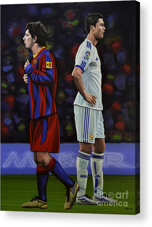 Lionel Messi Acrylic Print featuring the painting Lionel Messi And Cristiano Ronaldo by Paul Meijering