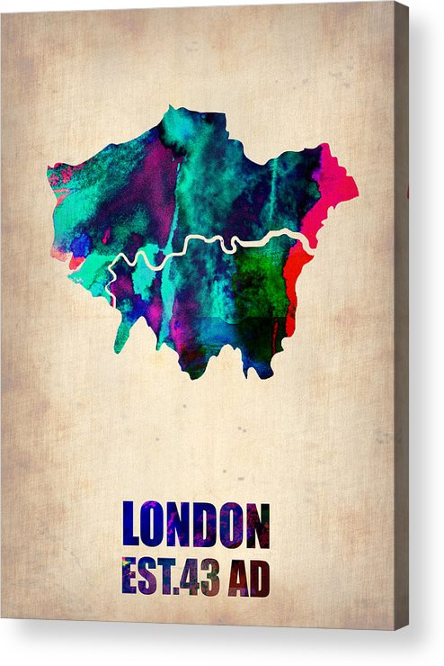 London Acrylic Print featuring the painting London Watercolor Map 2 by Naxart Studio