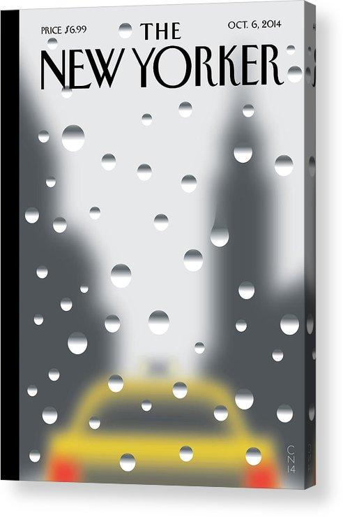 Rain Acrylic Print featuring the painting Rainy Day by Christoph Niemann