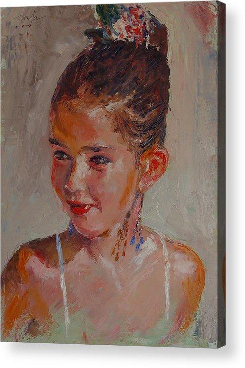 Portrait Acrylic Print featuring the painting Lucia Al Mediodia by Horacio Prada