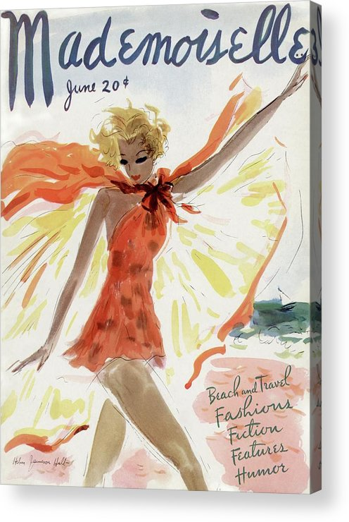 Illustration Acrylic Print featuring the photograph Mademoiselle Cover Featuring A Model At The Beach by Helen Jameson Hall