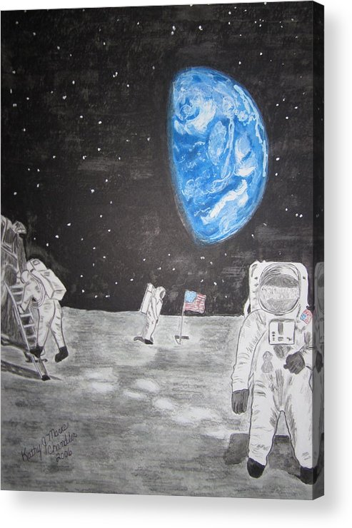 Stars Acrylic Print featuring the painting Man On The Moon by Kathy Marrs Chandler