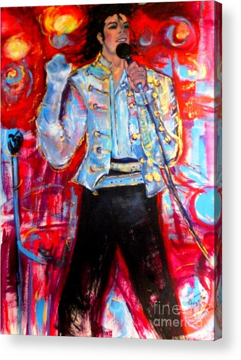 Michael Jackson Acrylic Print featuring the painting Michael Jackson I'll Be There by Helena Bebirian