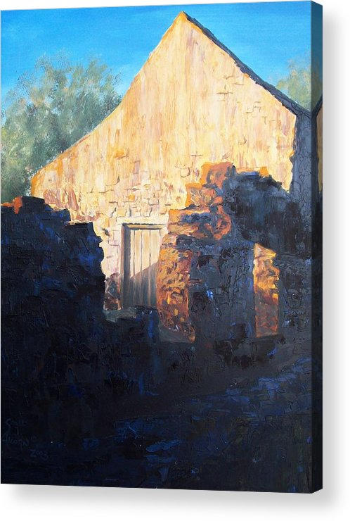 Mission Acrylic Print featuring the painting Mission At Sunset by Scott Alcorn