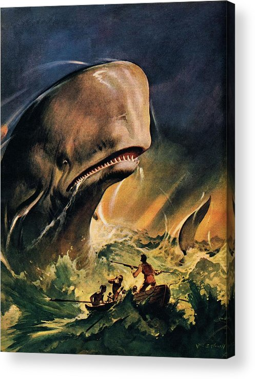 Moby Dick Acrylic Print featuring the painting Moby Dick by James Edwin McConnell