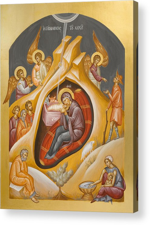 Nativity Acrylic Print featuring the painting Nativity Of Christ by Julia Bridget Hayes
