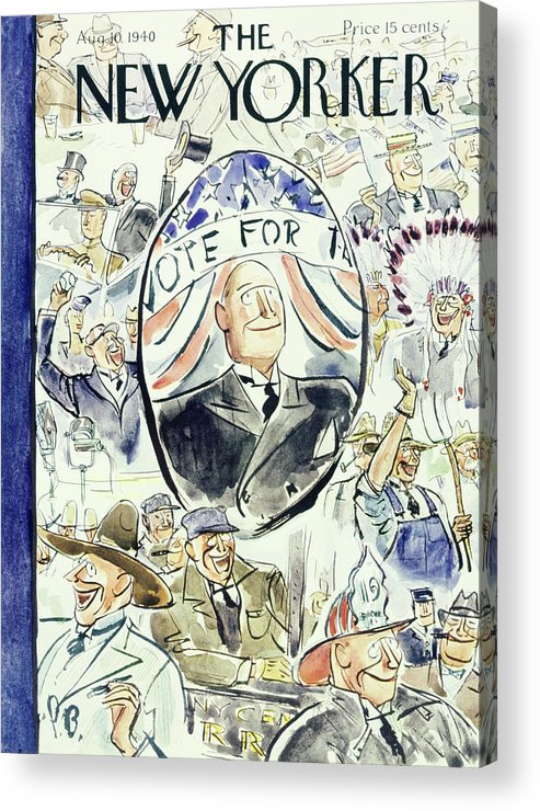 Political Acrylic Print featuring the painting New Yorker August 10 1940 by Perry Barlow