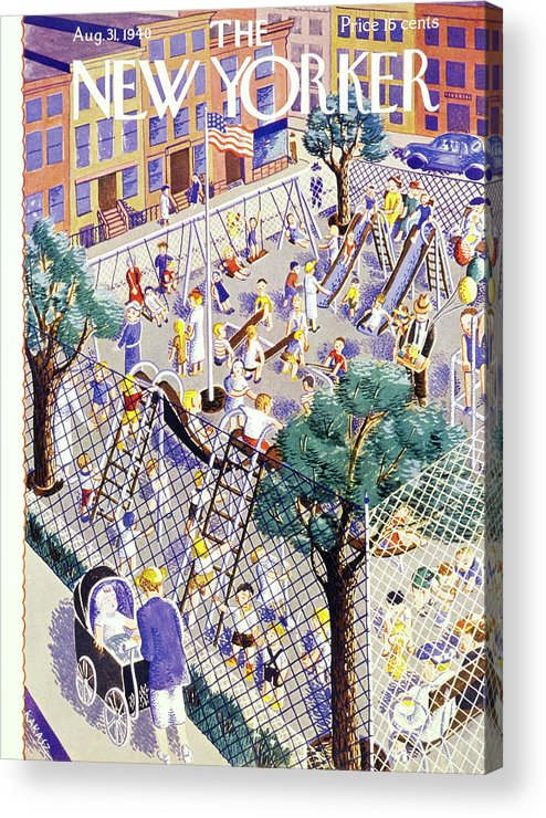 Children Acrylic Print featuring the painting New Yorker August 31 1940 by Ilonka Karasz
